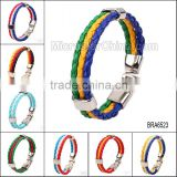 2016 World Cup National Sports 3 Strands Rope Braided Surfer Leather Bracelets Mens Flags Bracelets
