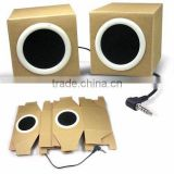 OEM logo coated paper speaker paper foldable box speaker for promotion