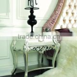 Hot sale classic silver bedroom furniture rococo nightstands Bedside table