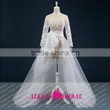 K174 Vestido De Noiva 2015 New Arrival Real Sample Long Sleeve Lace Wedding Dresses With Detachable train