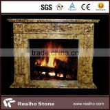 flower natural stone yellow marble fireplace mantel