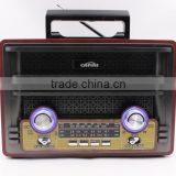 Two speakers wooden retro radio USB SD TF