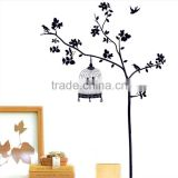 150*100CM Free shipping Wall Decal Stickers Removable Wallpaper,Room Sticker, House Sticker Vinyl Cage birds tree DM57-0109