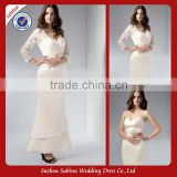 Mo1131 White Satin Strapless Ankle Length Mermaid Mother Of Bride Dress With Lace Jacket
