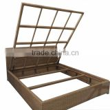 Outdoor rattan queen size living bed metal hotel bed with hydraulic lifting mechanism