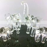 Crystal Family Elephant Hand Blown Clear Glass Art Figurines Home Decor / Gift / Collection