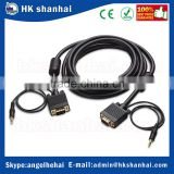 New product high quality 15pin monitor video cable male to male 3.5mm vga stereo jack audio cable support SVGA/XGA/UXGA/1080p