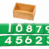 High quality Wooden educational toys children montessori set digital learning board Math Sandpaper Number with Box
