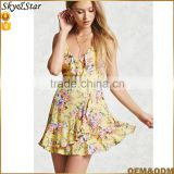 New design yellow sexy summer beach dress floral printed small ruffle hem halter Bandage dress