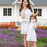 hot lady and girl slim lace short sleeve dress parent-child frock dress Mother and Daughter dress design