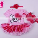 China supplier 3pcs pink and red princess short sleeve romper sets import from china