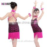 Children Kids Sexy Performance Fringed Latin Dance Dresses Girl Positive And Negative Two Wear Ballroom Dress