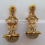 INDIAN DESIGNER DANGLING POLKI EARRINGS JEWELLERY JEWELRY