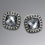 David Yurman 925 Sterling Silver Hematite Moonlight Ice Albion Earrings
