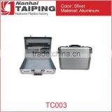 "TP TC003 Fashion Sliver 17 1/2"" x 13"" x 4 1/2"" Aluminum Briefcase with Combination Locks"