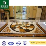 yellow and black portoro artificial marble stone water-jet panels for interior floor decoratiion