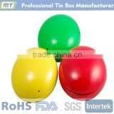 good quality colorful ball shaped tin box for chocolates