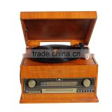 Antique wooden desktop turntable vinyl record player gramophone with radio,CD/MP3/USB player,usb and PC encoding,LED