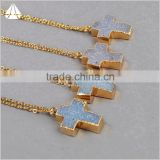 Cross druzy pendant 24K gold plated titanium coated wholesale fashion jewelry