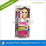 Cheap plastic clamshell blister packaging with printed paper sliding card bl for eyebrow pencil, lipstick, and personal products