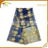 latest Italy french gold decorative embroidery 3D patterned chiffon silk fabric market in USA