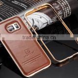 New Style Luxury leather with Aluminum frame Hand Crafted back cover 2 in 1 Phone Case For Samsung galaxy S6