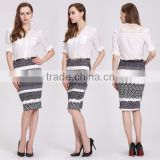 Lady Short Elastic Pencil Dress Midi Skirt Printing Slim Package Hip Skirt                                                                         Quality Choice