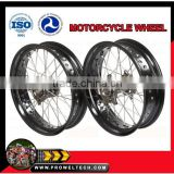 "Motorcycle wheels : KTM Supermoto wheelsets: black hubs with black rims 3.50-17"" and 5.00-17"""