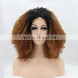 Lace Front Kinky Curl Curly Mix Colors Two Tone Ombre Auburn 30 Black Roots Wig