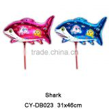 2016 Wholesale inflatable shark shaped foil balloon cup stick helium balloon for party event decoration