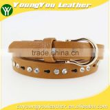 Women's fashion pu leather shiny rhinestone belt with shiny gold buckles in yiwu