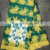Dubai quality lace fabric with rhinestones machine embroidery lace collar water soluble embroidered