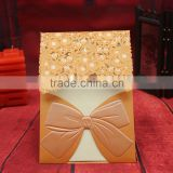 Free Custom printing gold stmaping bow shaped laser cutting party greeting invitations wedding card