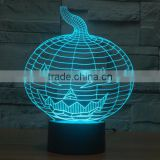 Christmas Gift !3D illusion bulbing Night Light Lamp 7 Color Change Touch Switch Novelty Pumpkin mini light For Hallowen