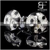 Mens Shirt Black Cufflinks for Wedding Business Round Shape Big CZ Inlaid