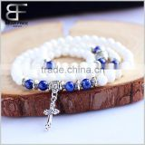 Unisex Unique Gift Natural White Obsidian Lapiz Lazuli Buddhist Prayer Mala Beads Multilayer Stretch Bracelet with Cross