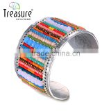 Fashion jewelry hot selling vintage style colorful little bead wide alloy cuff bangle Image