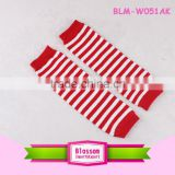 Unique little girl model top 100 baby leg warmers knitted red white stripe leg warmers