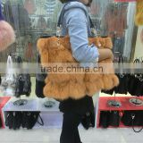 High Quality Luxury Dye Fox Fur Handbag / Winter Wine Fox Fur Bag                                                                         Quality Choice