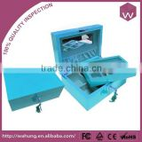 Customized Mirrored Light Blue Lacquer Wooden Jewelry Box Storage