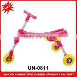 Factory direct sale cute and lovely plastic foldable baby walker 3 wheels safe tricycle for children UN-0811