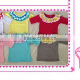 Wholesale baby clothes baby chevron ruffle neck shirt 100% cotton baby shorts sleeve top