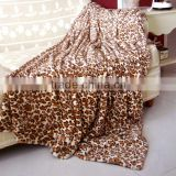 Printed PV rev fleece throw double sides faux fur blanket