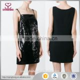 Shift silhouette and a short length square neck sleeveless design Black silk sequin embellished dress for women