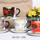 225cc full printing ceramic cup and sacuer tea sets with color box for gift