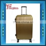 2016 Fashion Design Golden Color ABS+PC luggage with Aluminum Frame/ TSA lock travel set/OEM accept luggage