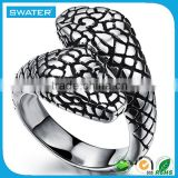 Stainless Steel Jewelry Black Plating Men Snake Ring