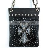 Mini Shiny Western Cross Studded Black Crossbody Rhinestone Messenger Bag Phone Bag