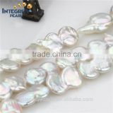 double coin shape 13mm large Genuine Natural Pearls Loose Freshwater Pearls Strands for Women