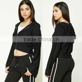 New Products 2017 Black Jacket Women Zip-Up Bell-Sleeve 92 Polyester 8 Spandex Fabric Cropped Zips Hoodie